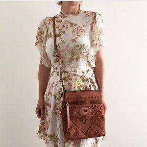 New Frye Ivy Studded Crossbody Bag in Dusty Rose